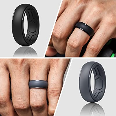 7 Rings // 4 Rings // 1 Ring Breathable Edition Rubber Engagement Bands ThunderFit Silicone Wedding Rings for Men Breathable Airflow Inner Grooves 8.5mm wide 2.5mm Thick