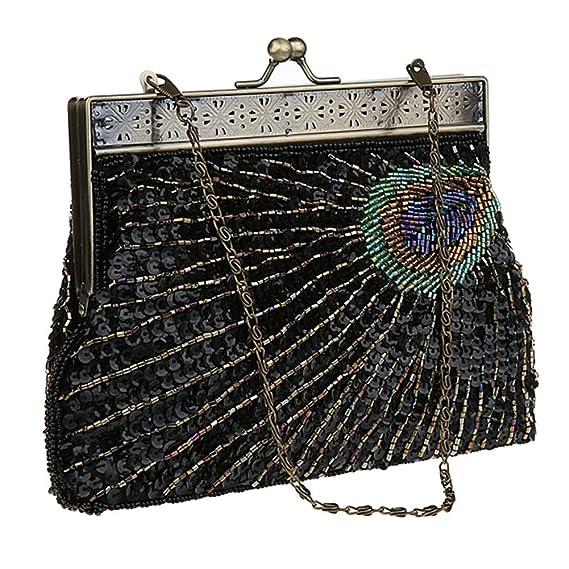 55f8d20e761c Vintage Clutch Teal Peacock Unusual Antique Beaded Sequin Evening Handbag  Sunburst Eye Catching Purse (Black