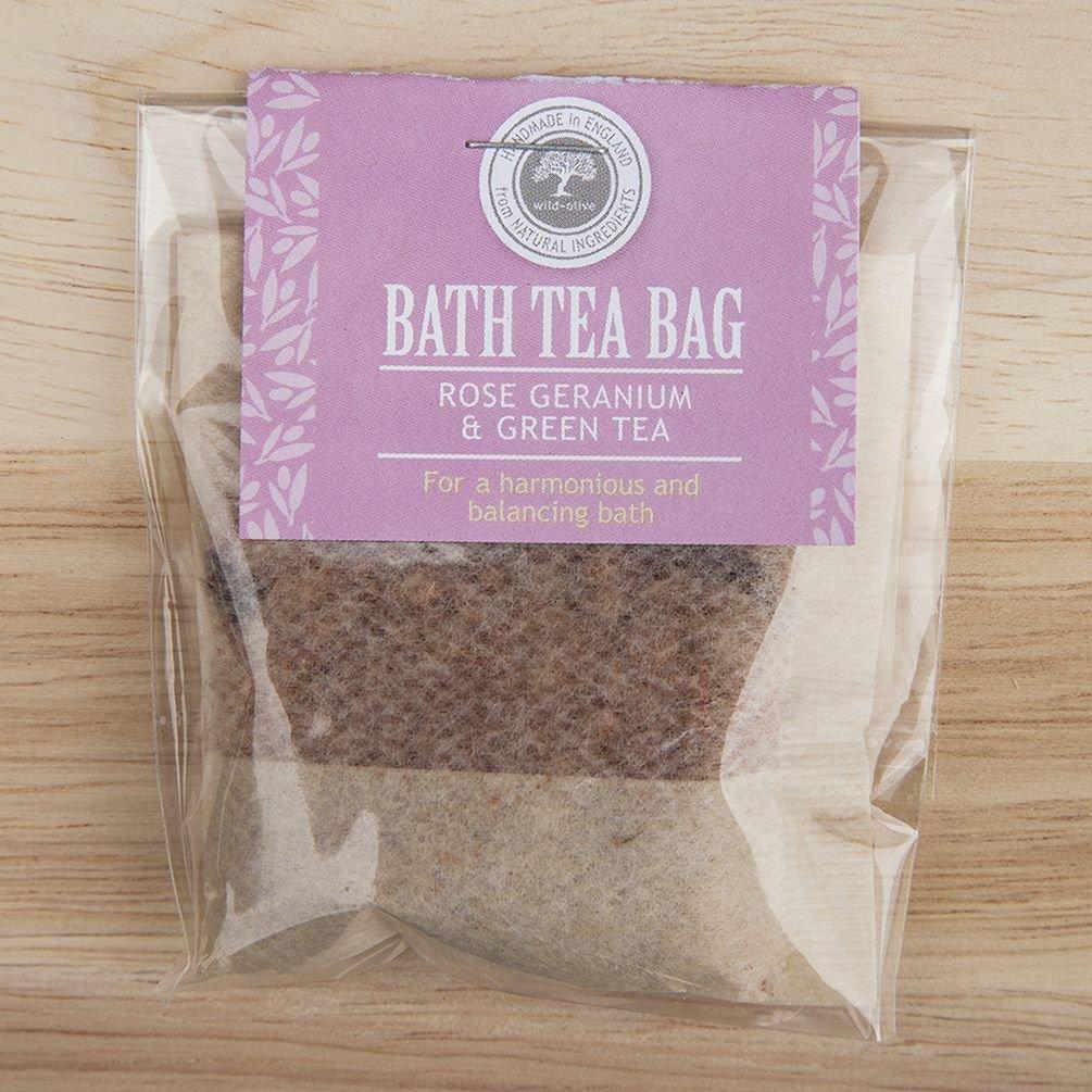 Bath Tea Bag (Rose Geranium and Green Tea) by Wild-Olive Ltd TGO
