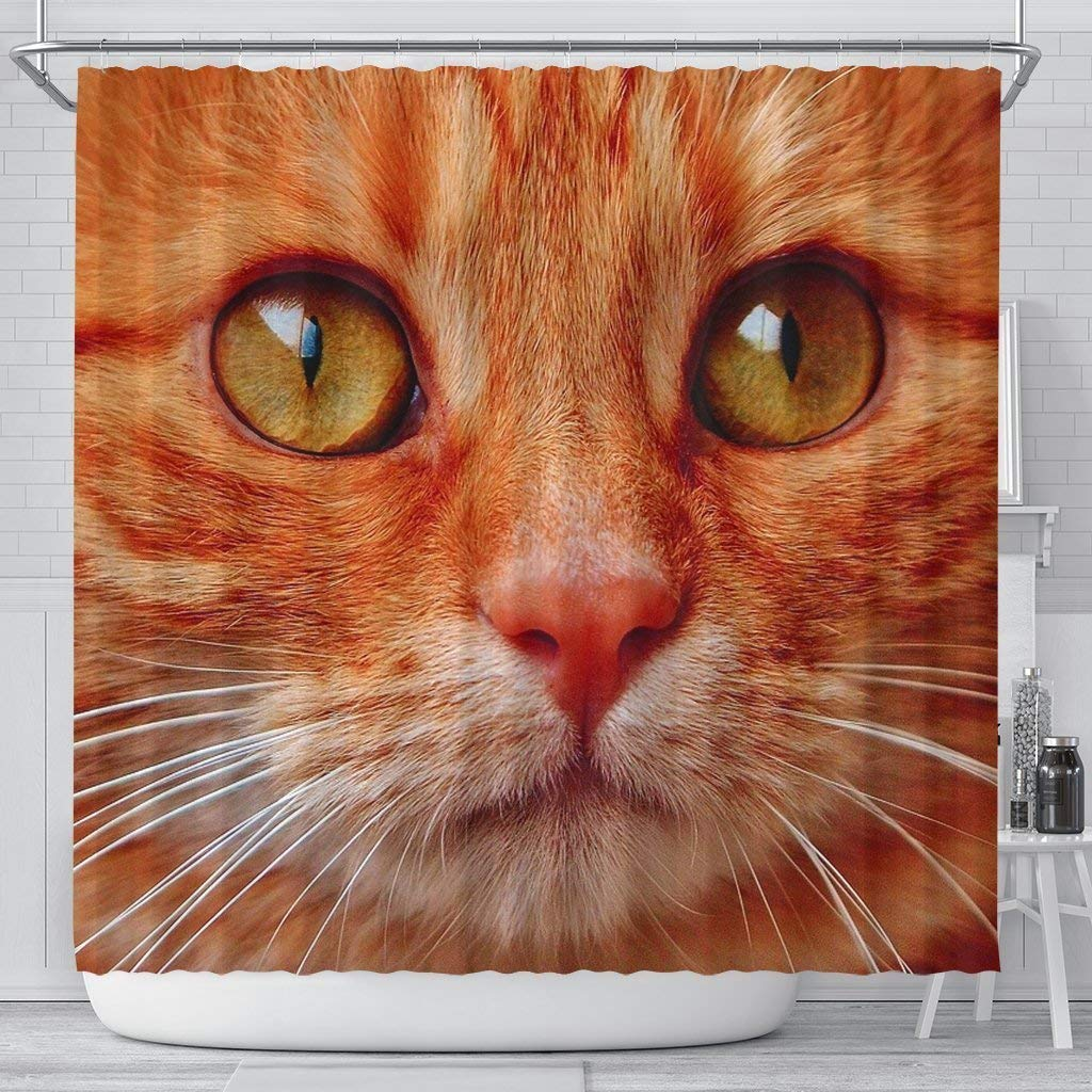 Pawick Lovely Cat Face Print Shower Curtains