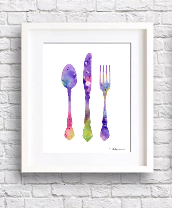 Set of 3 Kitchen Art Prints Teapot Knife Fork by 1GalleryAbove