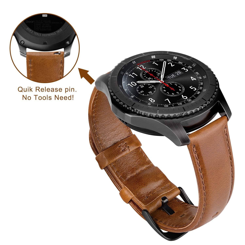 MroTech Bracelet Montre Gear s3 Frontier Bracelet Cuir 22mm Compatible Samsung Galaxy Watch 46mm SM-R800 R805,Gear S3 Classic SM-R760 R770,Fossil 22 mm ...