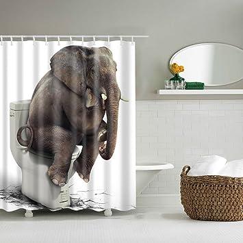 Imperméable rideau de douche éléphant Coloré Imprimé Salle de Bain Décor Rideau de douche