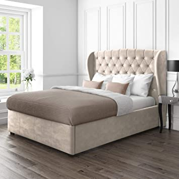 Terrific Safina Wing Back King Size Ottoman Bed In Beige Velvet Gmtry Best Dining Table And Chair Ideas Images Gmtryco