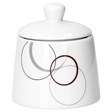 2 tlg Azucarero de 28 cl /& jarrita de leche de 23 cl Palazzo con decoraci/ón-c/írculos en gris y rojo