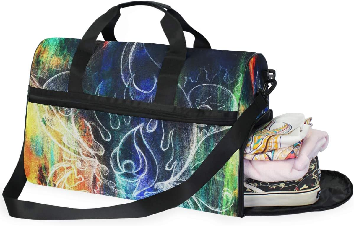 Travel Duffels Abstract Painting Duffle Bag Luggage Sports Gym for Women /& Men