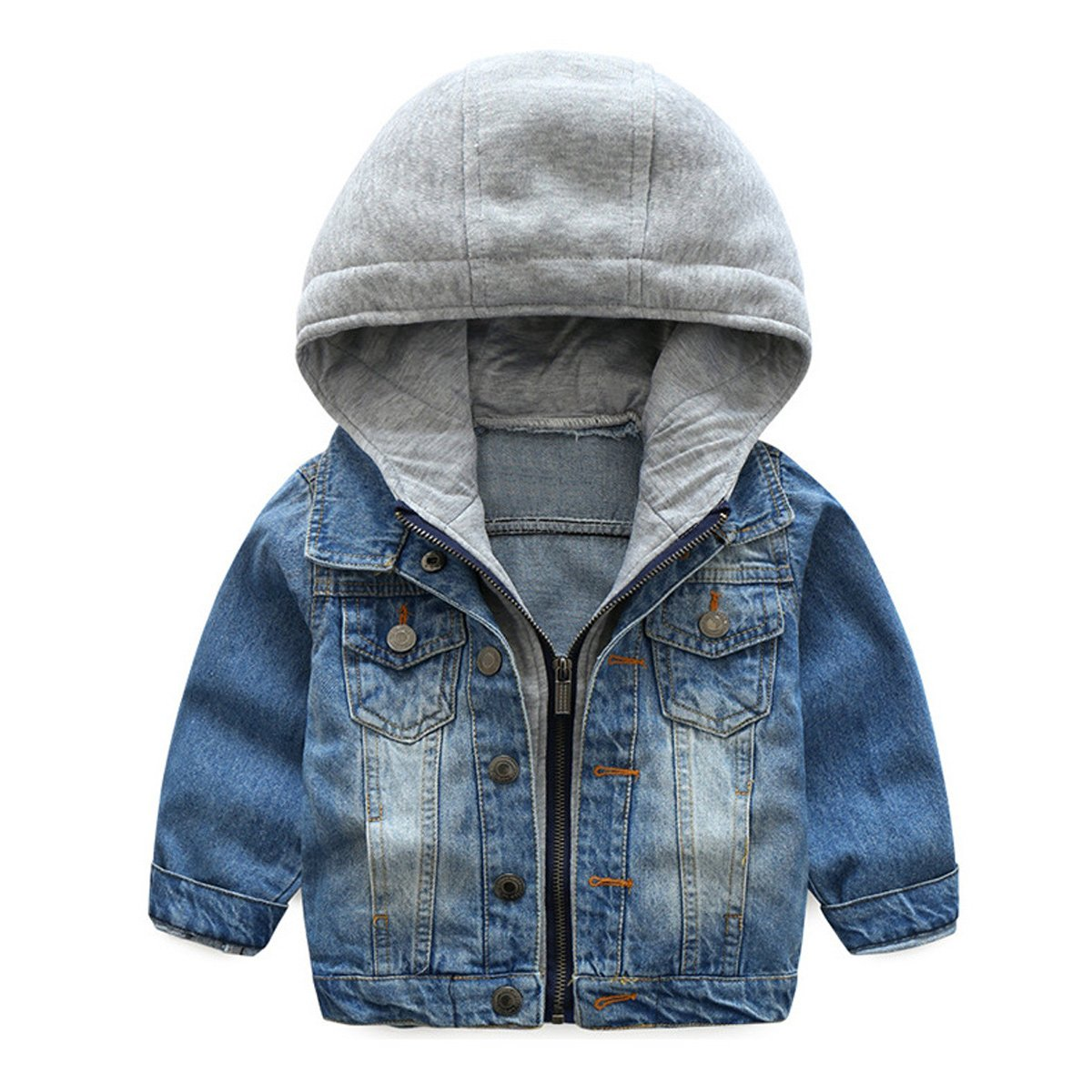 NABER Kids Boys' Fashion Zipper Denim Outerwear Jacket Coat with Hooded Age 3-10 Years (7-8 Years)