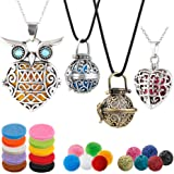 4 PCS Classical Aromatherapy Essential Oil Diffuser Necklace Pendant Combinations, Garden Style/Heart Locket and Owl…