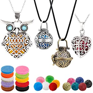4 PCS Classical Aromatherapy Essential Oil Diffuser Necklace Pendant Combinations, Garden Style/Heart Locket and Owl Necklace Pendant