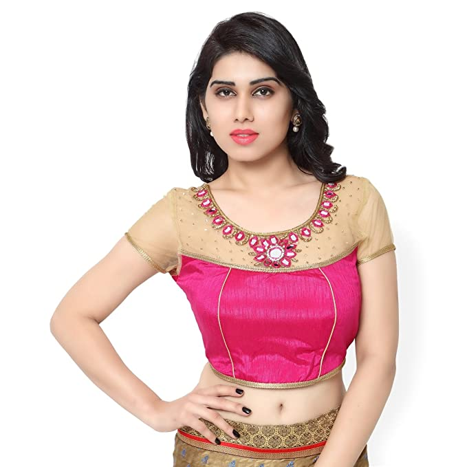 Striking Magenta Colored Espejo trabajado arte seda Red Readymade blusa por Triveni, Mujer, color