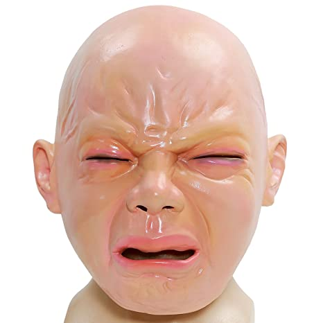 xcoser Crying Baby Full Head Latex Party Masquerade Xmas Halloween Cosplay Costume Accessory