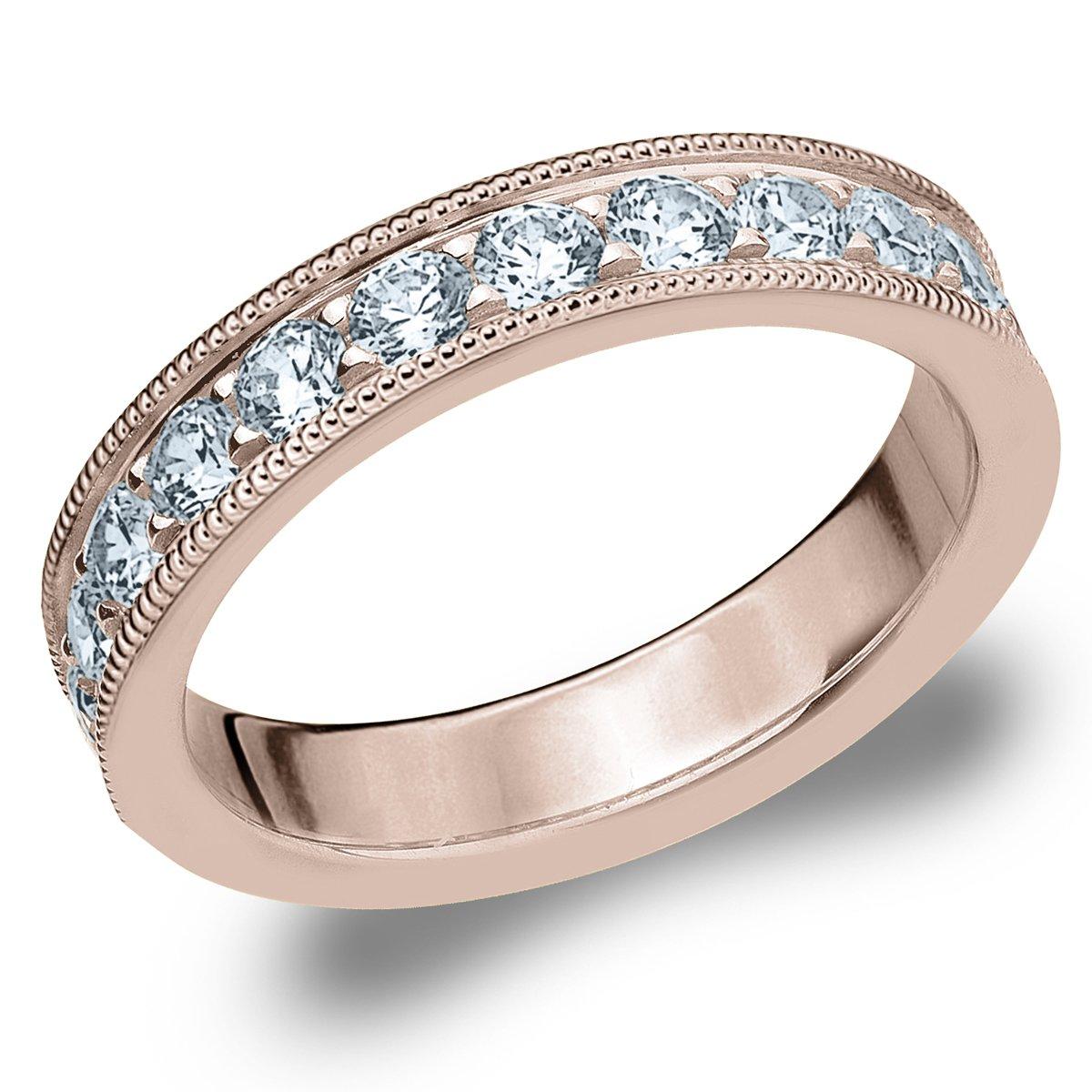 18K Rose Gold Diamond Milgrain Edge Prong Set Ring (1.0 cttw, H-I Color, I1-I2 Clarity) Size 7