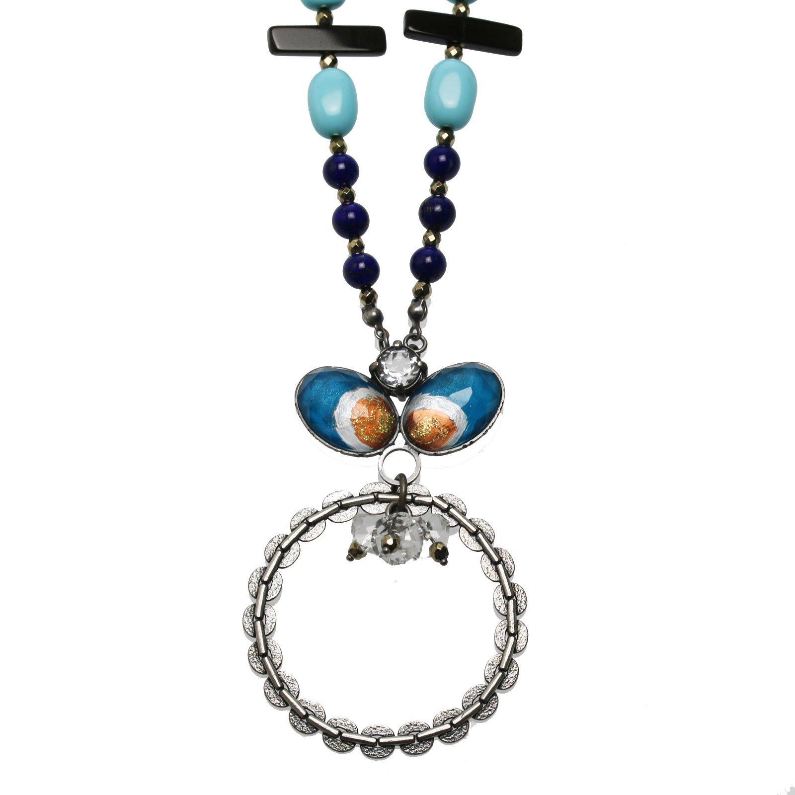 Tamarusan Glasses Holder Tibet Agate Onyx Hematite(Magnetic Containing) Lapis Lazuri Quartz Handmade Eyeglass Holder