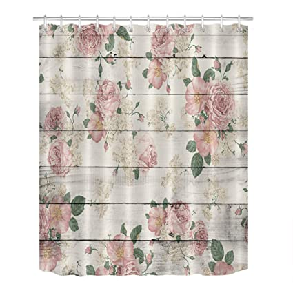 LB Pink Flower On Rustic Wood Panel Shower Curtain For Bathroom By Vintage Retro Country