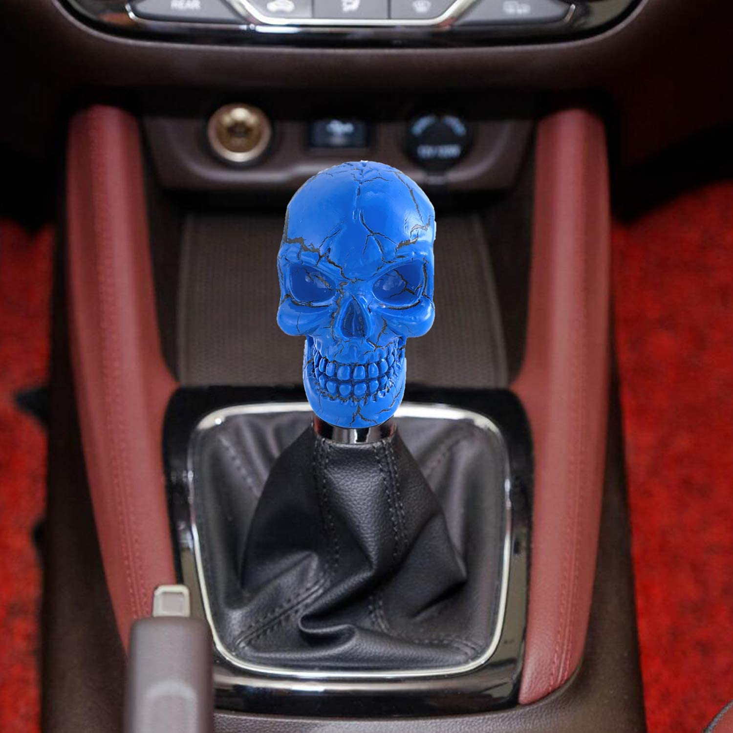 Blue Skull Head Pattern Style Manual Shifter Knobs Shift Lever fit Most Universal Vehicle Arenbel Shift Gear Knob