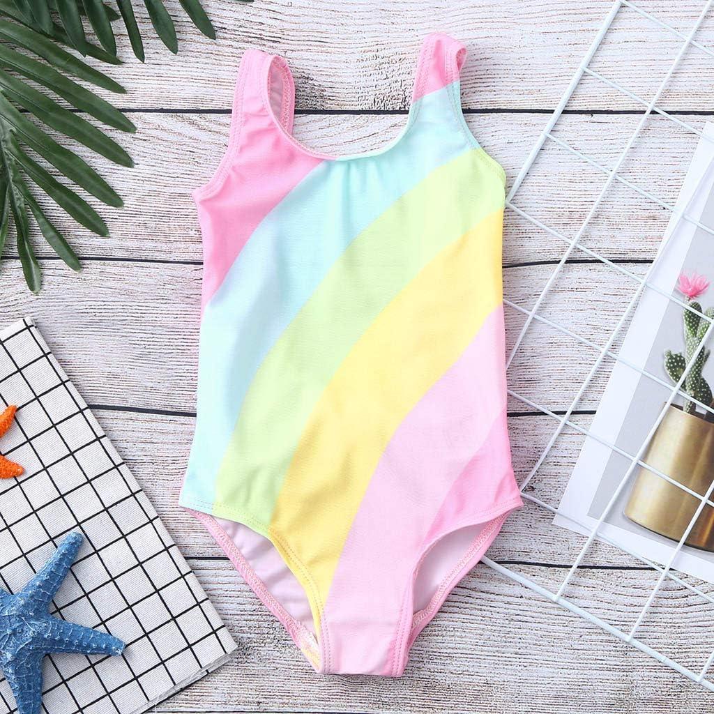 BINMUO Baby Bathing Suit Girl Kids Stripe Rainbow Swimwear 1-5 Year Swimsuit Beach Romper Clothes