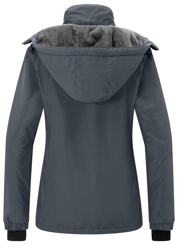 Wantdo Womens Mountain Rain Jacket Windproof Fleece Ski Coat Waterproof Hooded Warm Winter Parka