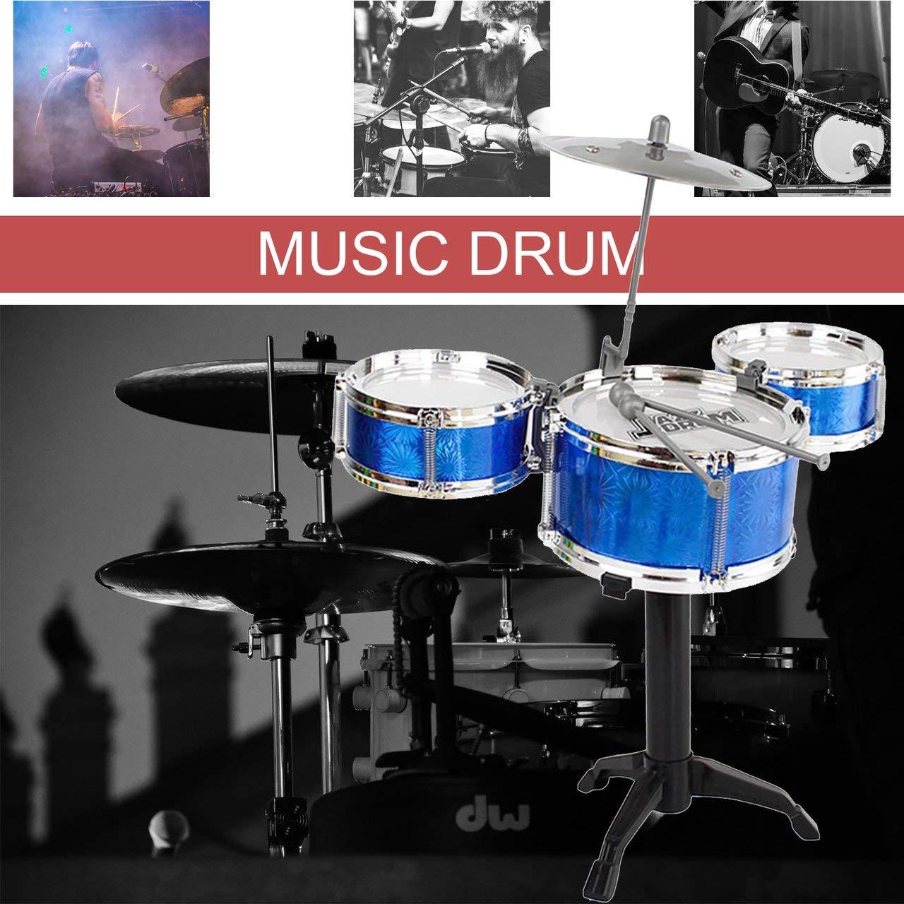 blue Jasnyfall 3-Piece Kids Drum Set Children Junior Drums Kit Simulation Jazz Drums Percussion Musical Instrument Wisdom Development Toys