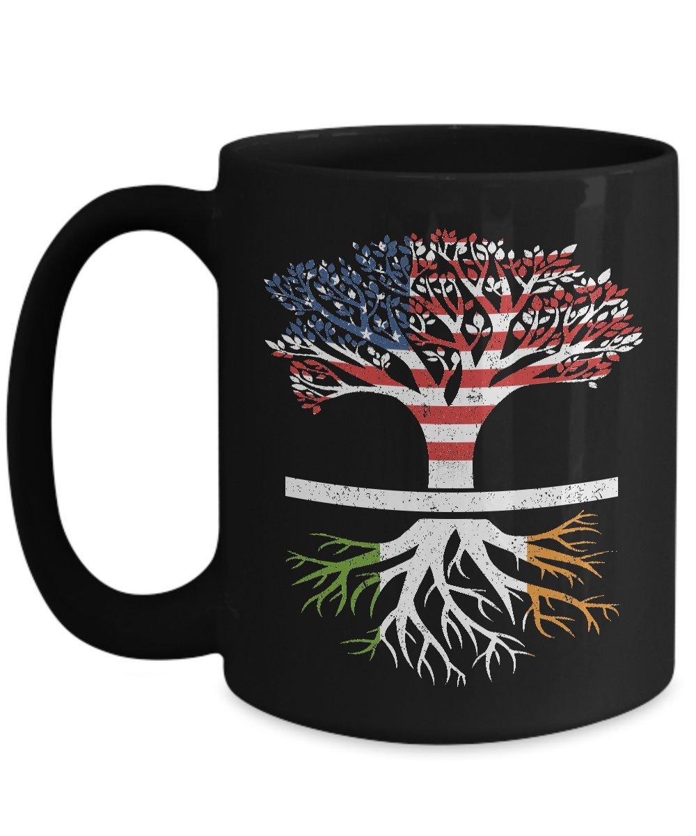 Shirt White American Flag Tree Irish Roots Funny Coffee Mug 15oz Black