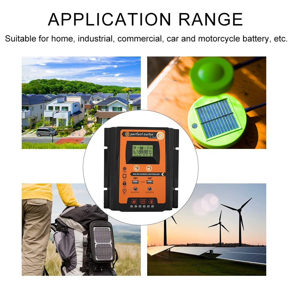 30A Akozon Charge Controller Solar Panel Smart MPPT Wasserdichter 12V//24V Solarladeregler Dual USB mit LCD-Anzeige