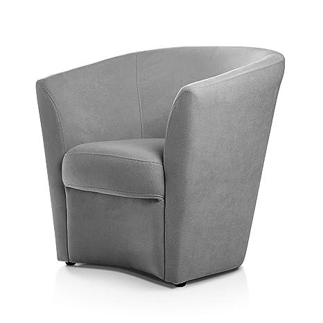 Butaca descalzadora gris Sillón con estructura de madera de pino Butacas para dormitorio moderno. Mueble de salon con patas de goma antideslizante. ...