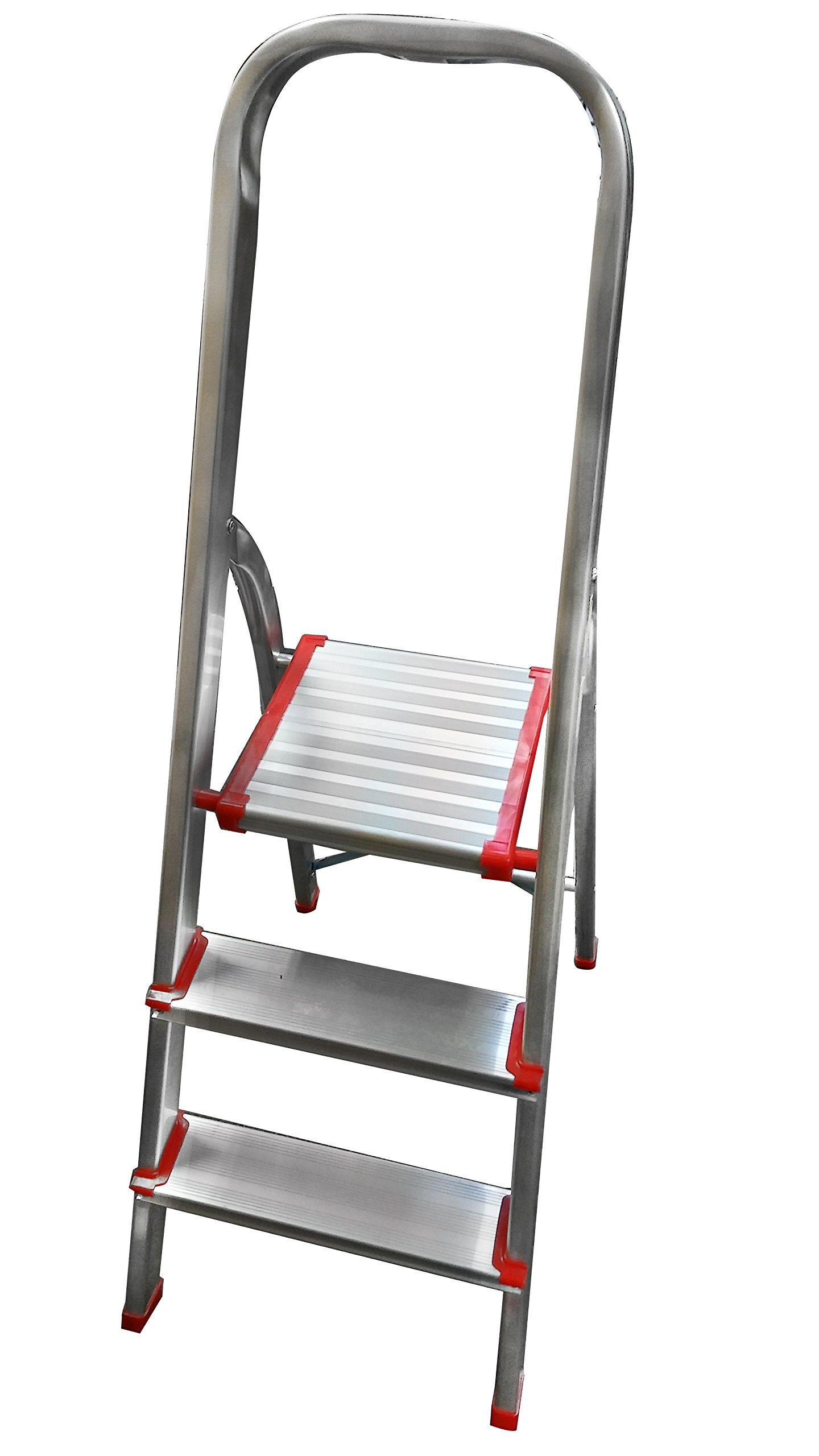 LavoHome 330lbs Upper Reach LightWeight Reinforced Aluminum Folding Step-Ladder Stool Household Kitchen Stool Ultra Light With Platform (3 Step)