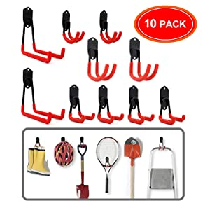 Ultrawall Garage Hooks, Ladder Hooks, 10 Pack Garage Storage Hooks,Garage Wall Organizer for Shovel, Ladders, Shovel, Broom,Garden Tools