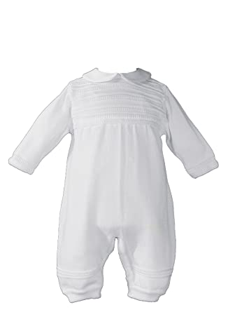 f10d13631 Little Things Mean A Lot Baby Boys White Cotton Knit Long Sleeve Rib Pattern  Christening Coverall