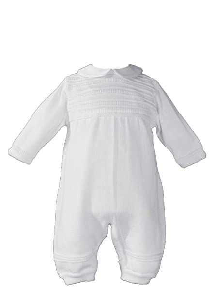 Amazon.com: Niños Knit blanco bautizo overol: Clothing