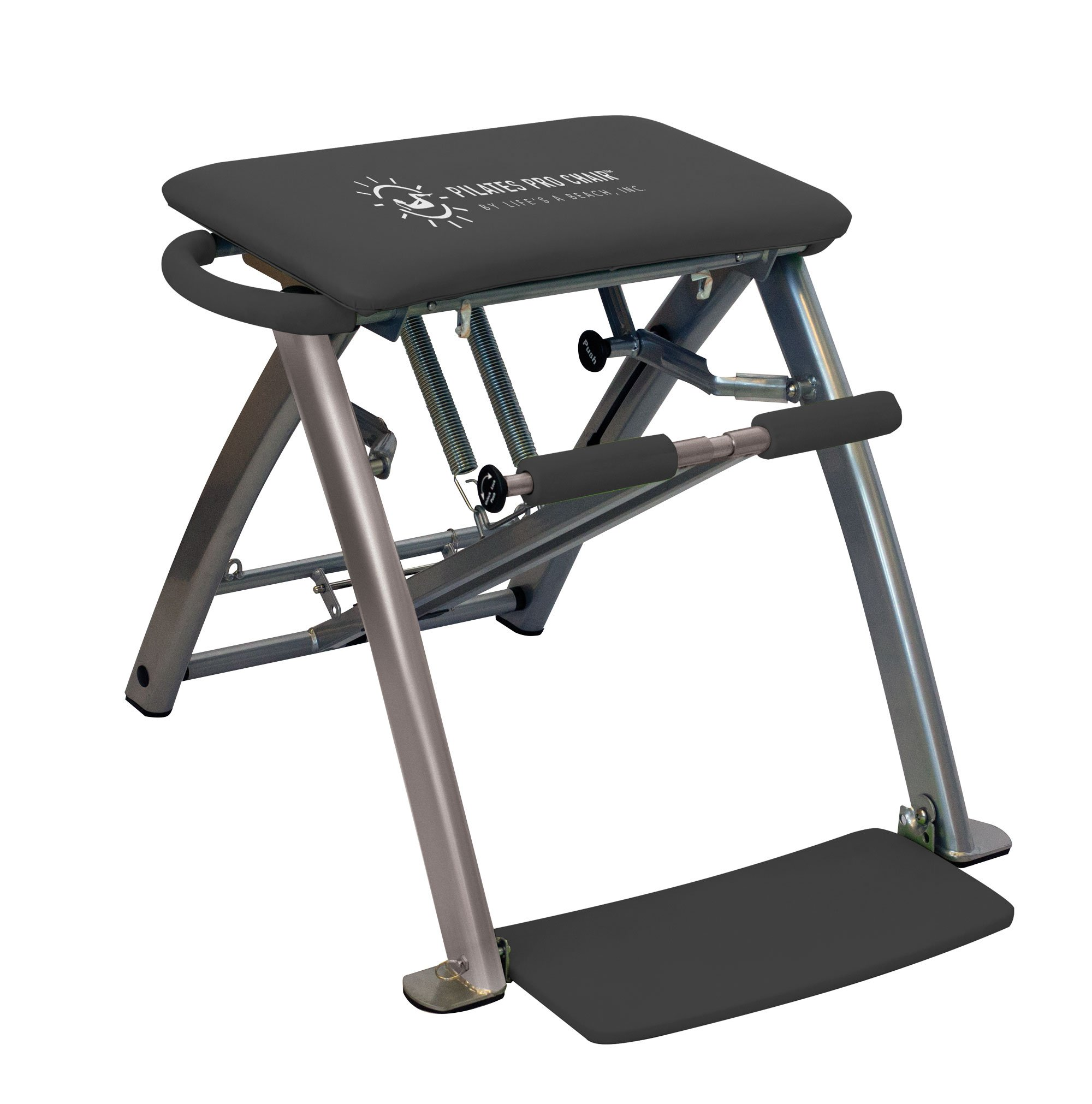 Life's A Beach Grey Pilates Pro Exercise Workout Fitness Chair Bench with 4 DVDs