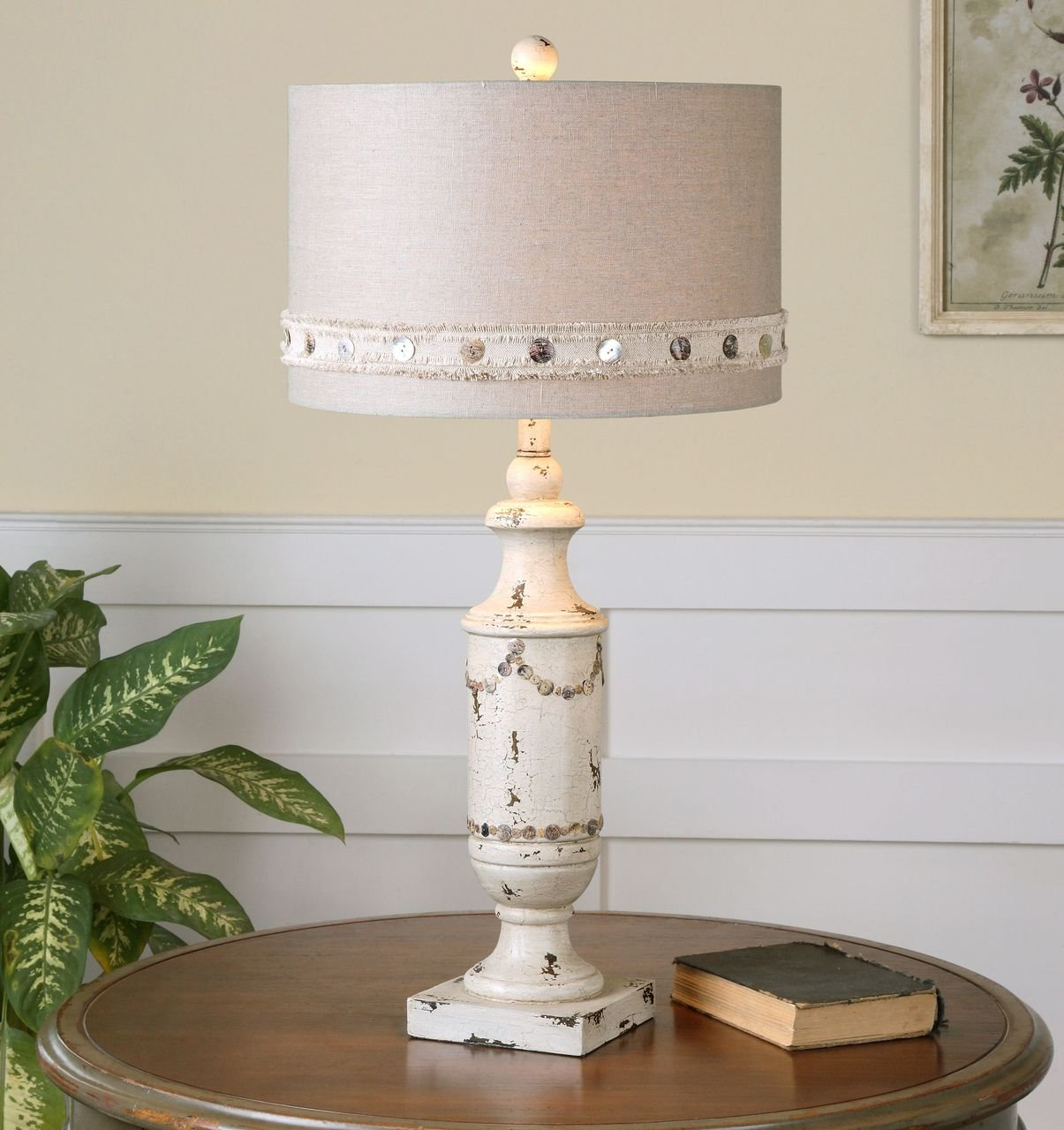 Cottage Ivory Shell Button Table Lamp | Country Distressed White by Uttermost (Image #2)
