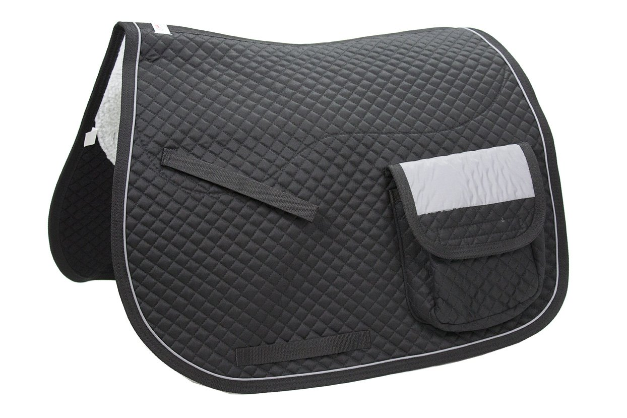 Derby Originals Quilted Dressage Saddle Pad with Reflective Pockets