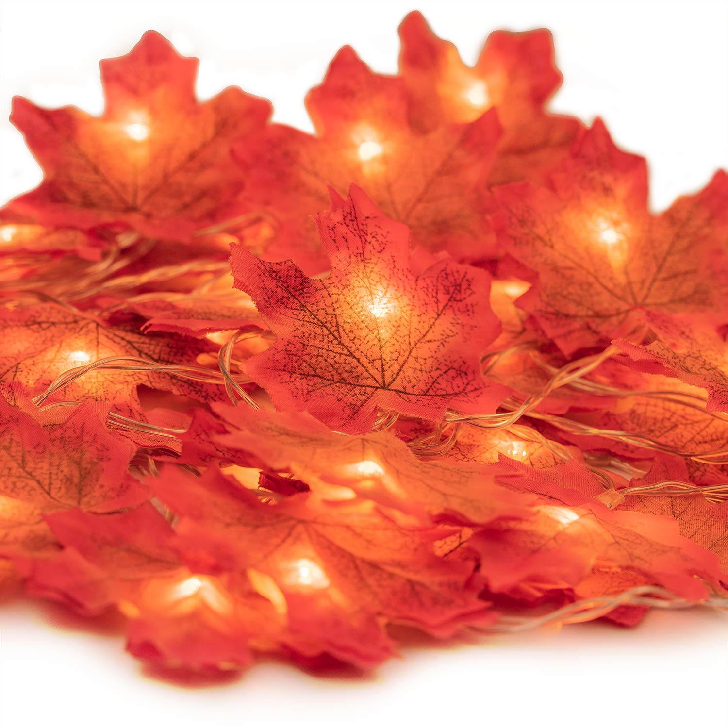 HENMI Fall Maple Leaf Garland 20 LED Maple Leaves Fairy Lights 7.9 Feet Fall Garland Lights Waterproof Maple Leaf String Lights 3AA Battery Powered Lighted Garland for Party Thanksgiving Decor