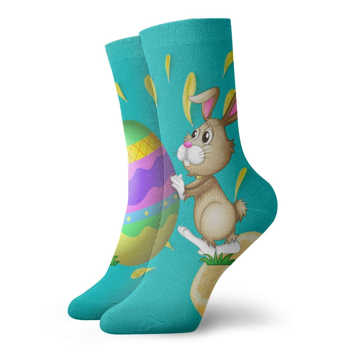 Rabbit Easter Eggs Mens Fashion Dress Socks Short Socks Leisure Travel 11.8 Inch