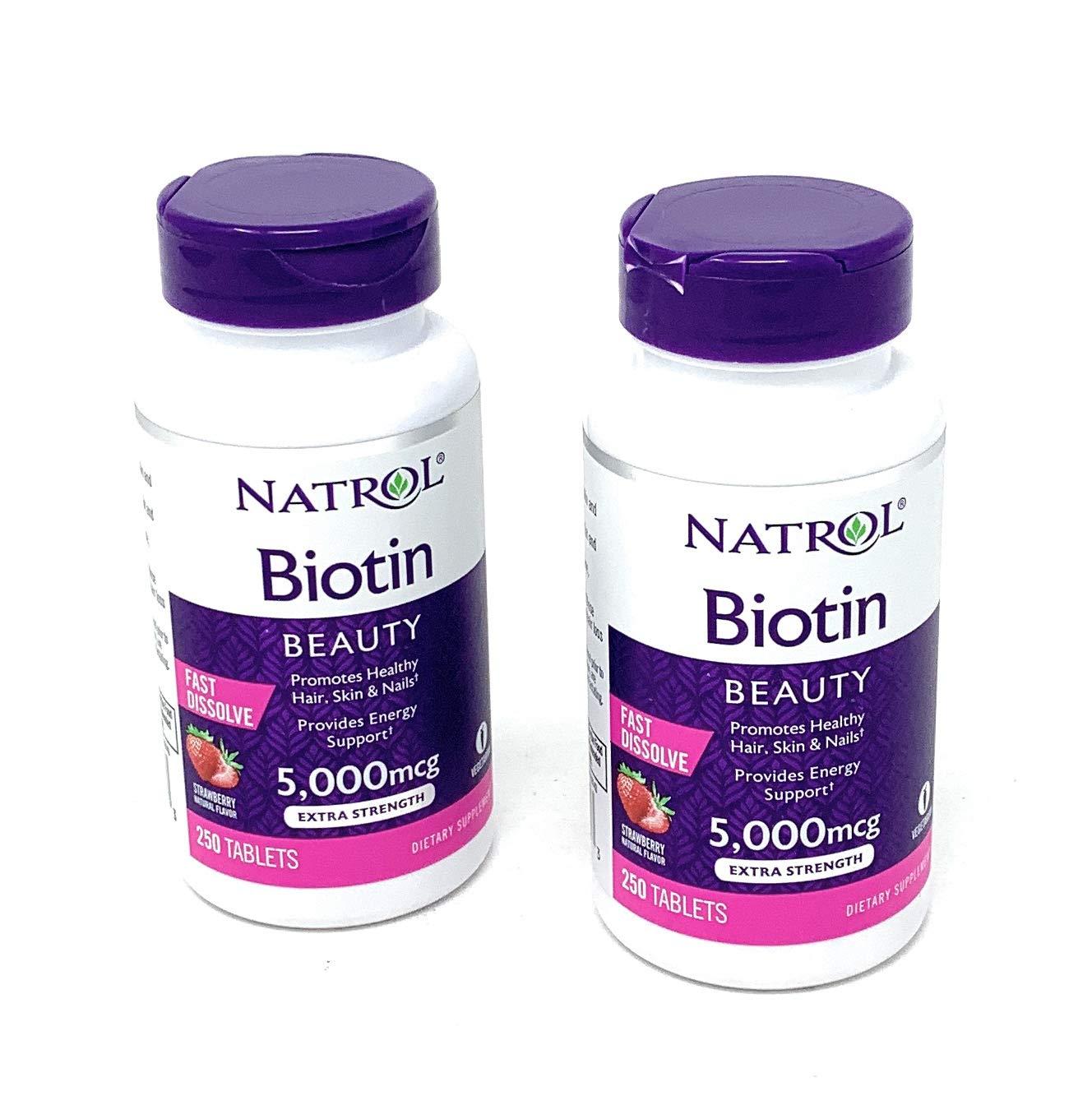 Natrol Biotin 5000 mcg Fast Dissolve Tablets (Strawberry (2 Pack)) by Natrol