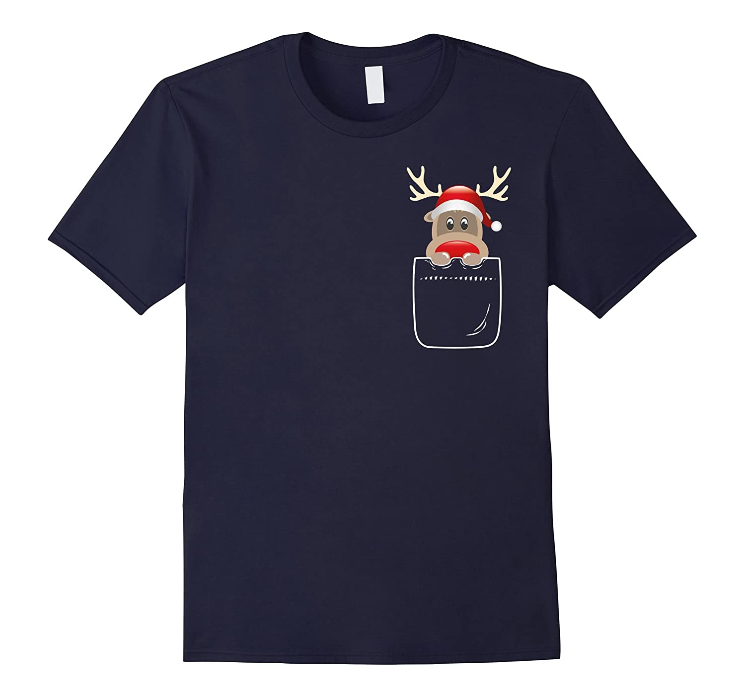 Cute Christmas Santa Reindeer In Your Front Pocket T-Shirt-FL