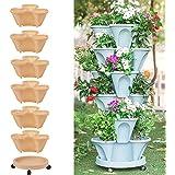 Stackable Vertical Planter Set Strawberry Planting Pots, 6 Tier Stackable Herb Garden Planter Set, Vertical Container Pots fo