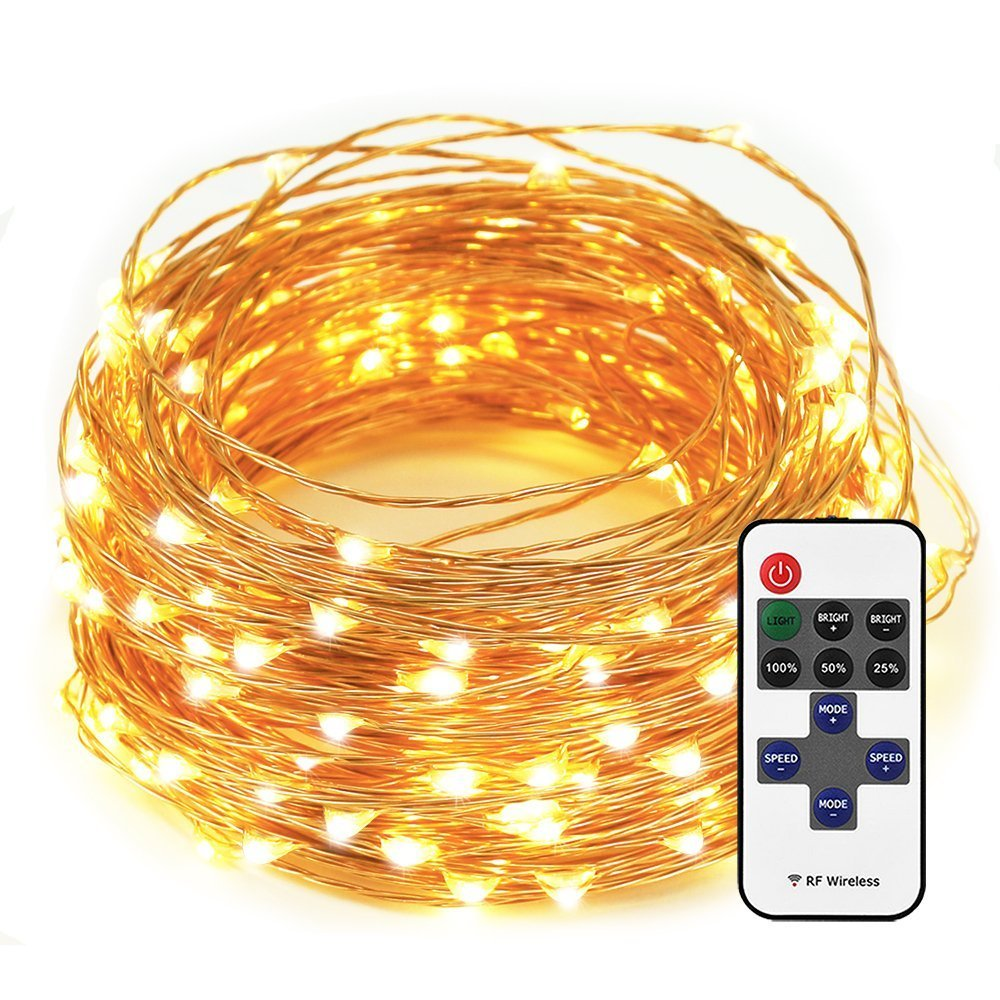 ESICOO LED String Lights Dimmable Waterproof for Bedroom, Patio, Garden, Party, Wedding Decoration (Copper Wire, Warm White) (66ft) by ESICOO (Image #1)