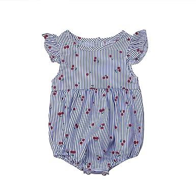 8fc3242b23e3 Newborn Baby Girl Floral Ruffle Romper Onesies Sleeveless Bodysuit Jumpsuit  (Blue