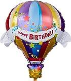 Ballongruesse - Riesenballon Happy Birthday Heissluftballon (105cm gasgefüllt im Karton) tolles Geschenk Präsent Überraschung Geschenkidee Geburtstagsgrüße Geburtstagsgeschenk Geburtstagsdekoration Deko oder Dekoration kreativ originell witzig lustig zum Kindergeburtstag Party Fete Feier Fest Jahrestag Ehrentag Jubiläum Ballonfahrt, gasgefüllte schwebende fliegende Ballons Folienballons Luftballons mit Helium Ballongas