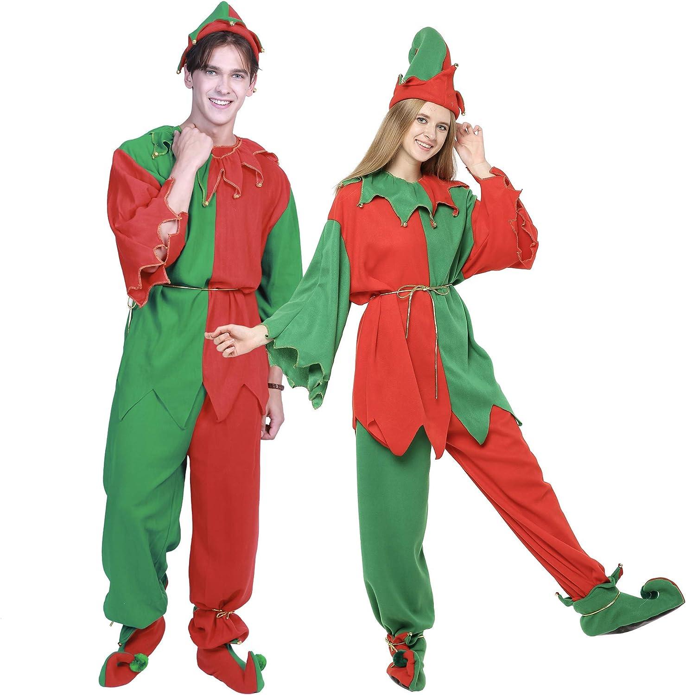 ReneeCho Disfraces de Navidad para Adultos Disfraz de Duende de ...
