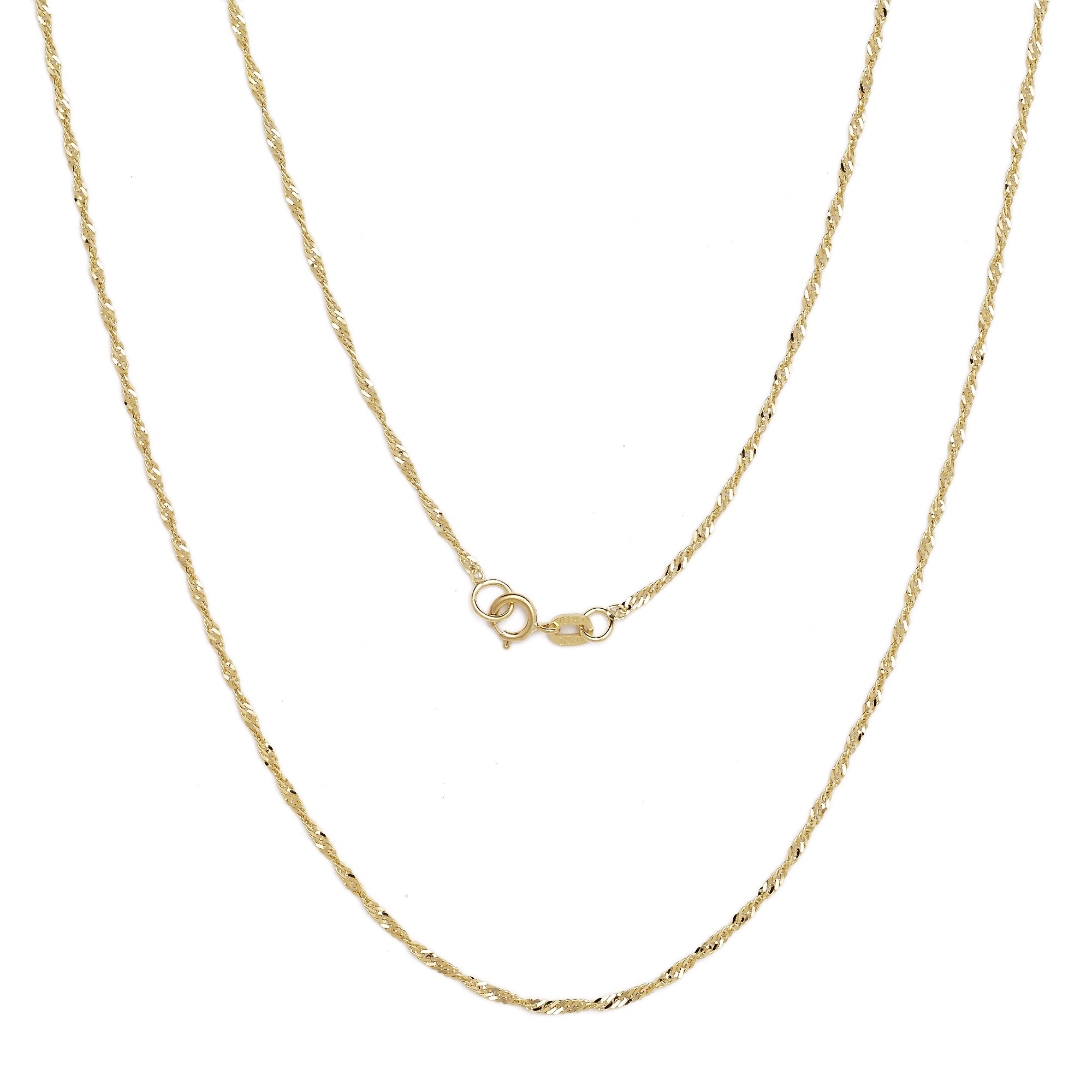 22 Inch 10k Yellow Gold Thin Singapore Chain Necklace, 0.05 Inch (1.3mm)