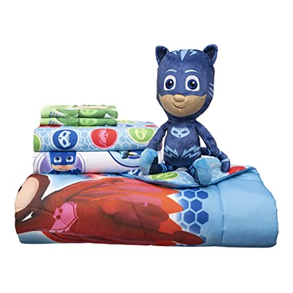 Entertainment One PJ Masks Soft Microfiber Comforter, Sheets and Plush Cuddle Pillow 6 Piece Bundle