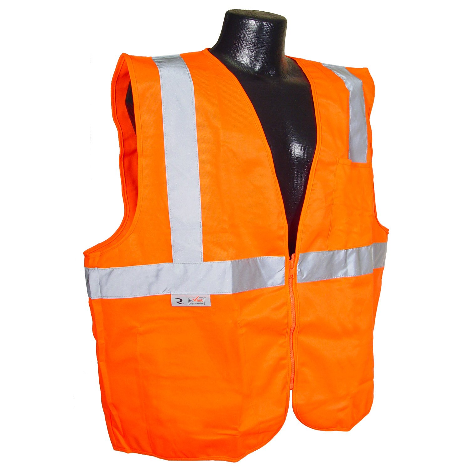 Large Orange Radians SV2ZOSL Polyester Solid Knit Economy Class 2 High Visibility Vest with Zipper Closure