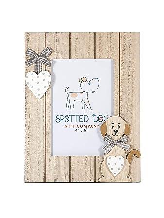 SPOTTED DOG GIFT COMPANY Marco de Fotos Retrato 15x 10 cm portafotos con corazón y Perro Madera Natural de pie o para Colgar en Pared, Regalo para ...