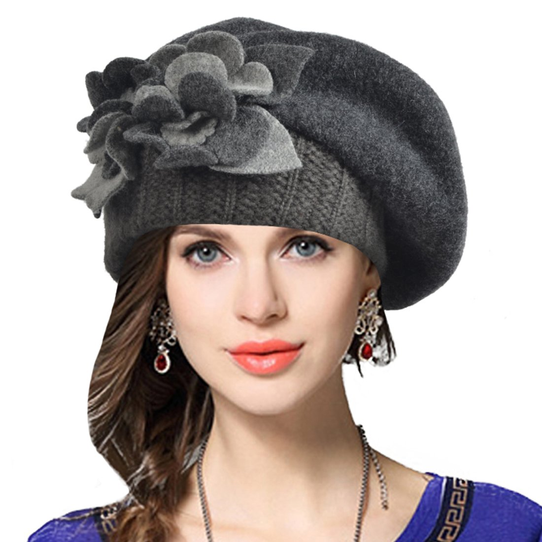 JESSE · RENA Women Wool French Beret Cloche Angola Beanie Skull Cap Winter Hats CF-BR022Angola-Black