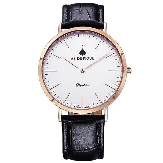 AS DE Pique Classic Luxus reloj suizo diseño DE cristal DE zafiro DE piel marrón oro rosa negro: Amazon.es: Relojes