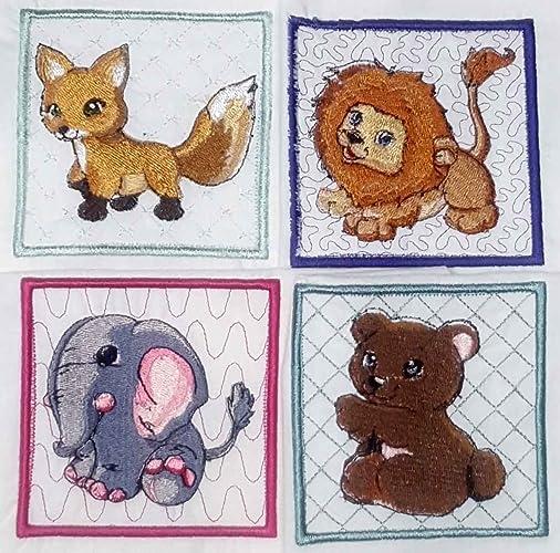 Amazon com: Machine Embroidered Quilt Blocks Set of 4 Wild