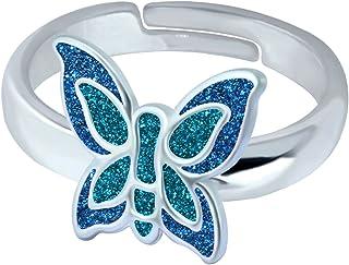 SL-Silver, anello da bambina con piccola farfalla colorata, in argento Sterling 925, misura regolabile, in confezione regalo