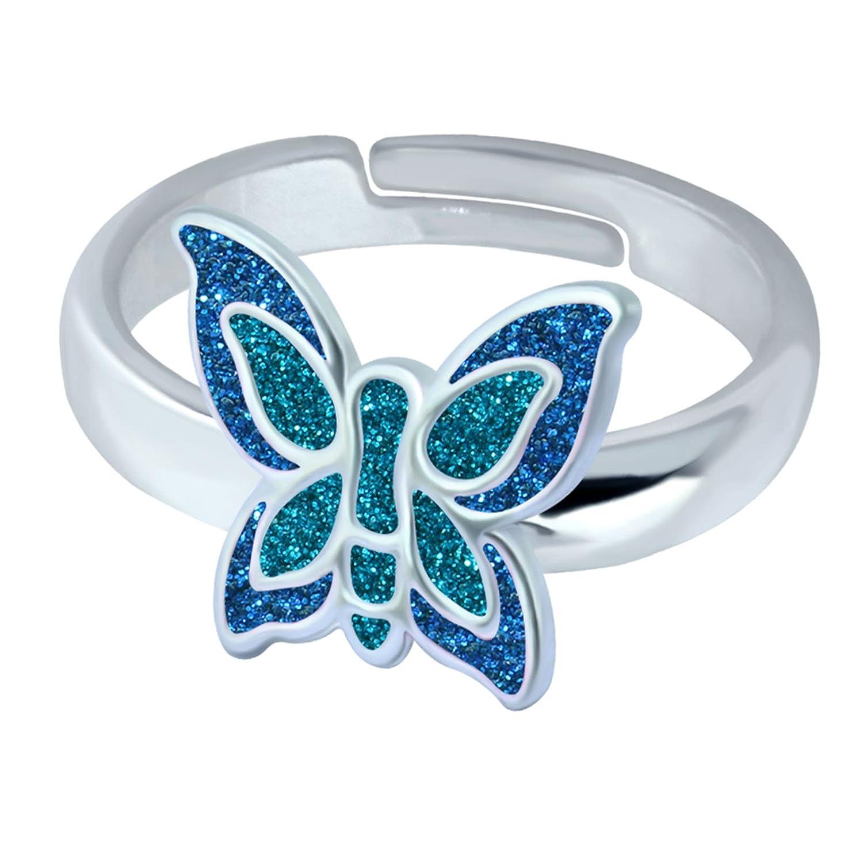 SL-Silver Fille–Bague Femme–Papillon Coloré Taille Réglable Argent Sterling 925dans Emballage Cadeau SL-kinderring41